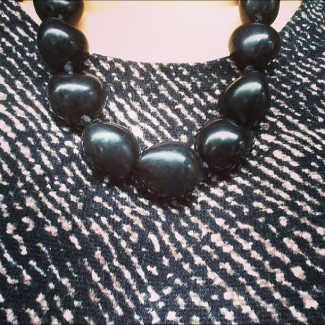 Vintage Black Buddha Necklace with Ribbon Tie