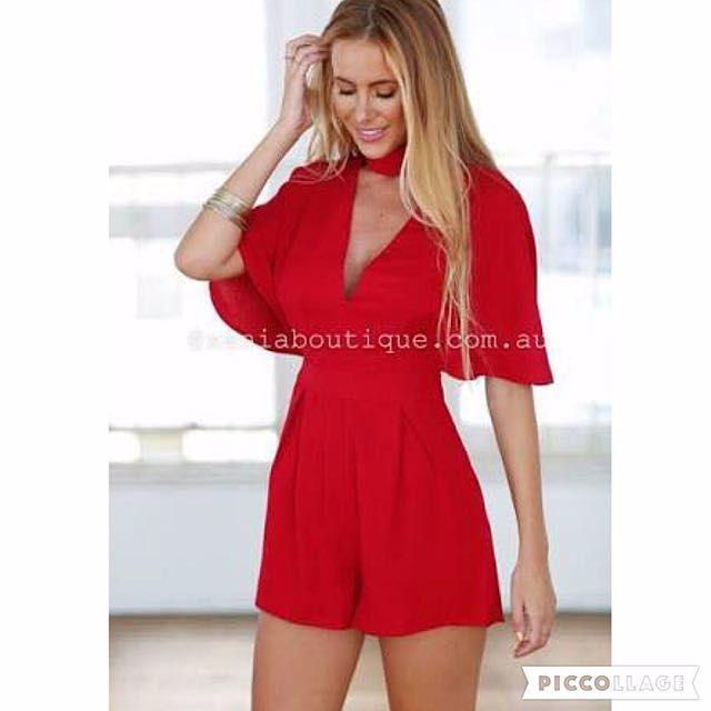 Pending-Xenia Boutique All My Heart Playsuit Red