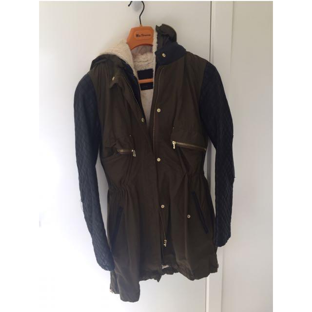 ZARA Winter Leather/ Fur Lining Coat In Khaki - Size L