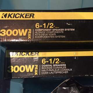 KICKER 300W Component & Coaxial Speakers 6pc+2pc