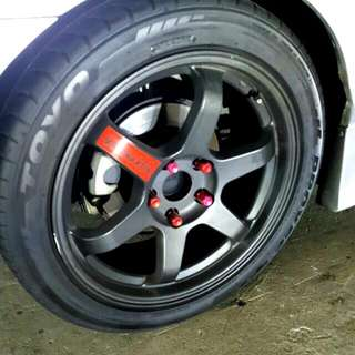 "*RESERVED* 17"" 8J Volks Racing TE37 Rims For Sale"