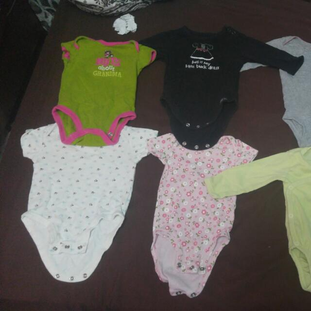 0-3 Month Girl Short And Long Sleeve Onsies