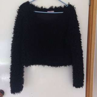 Fluffy Black Fur Top