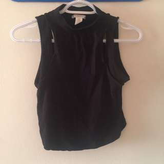NWOT Black Sleeveless Crop Top