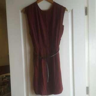 #Mango Maroon Dress Low Back