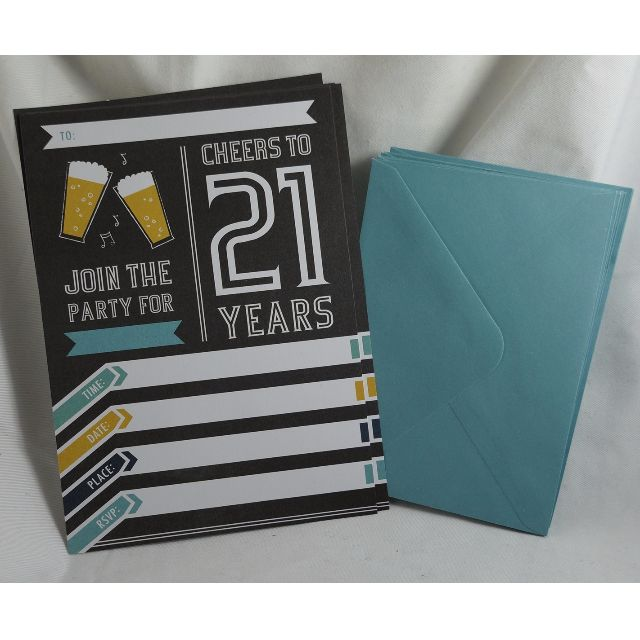 10x 21st Birthday Party Invitation & Envelopes - Recycled Paper
