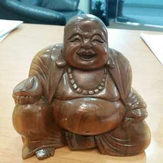 Wood crafted  Laughing buddha  .