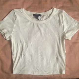 Forever 21 white ribbed crop top (s)