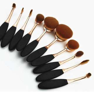 10pcs Toothbrush Shape Makeup Brushes Gold Oval