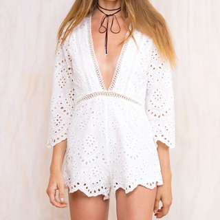 Princess Polly Apocalypse Dreams Playsuit in White, Size 8