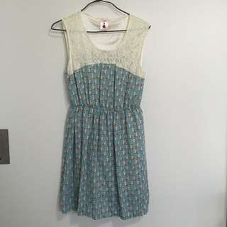 Vintage Style Dusty Blue Kitty Dress With Lace Detail