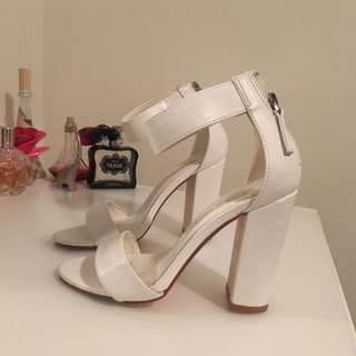 White Pop cherry Heels