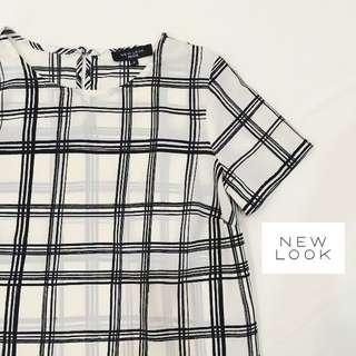 New Look - Cream Checkered Top (UK6)
