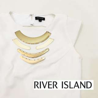 [FREE DELIVERY] River Island - White Sexy Back Top with Gold Metal Details (UK8)