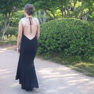 Black And Silver Backless Formal Dress