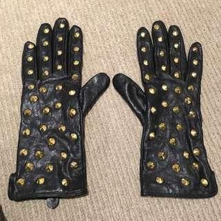 Black Studded Gloves