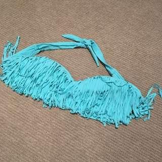 Blue Tassel Bikini Top