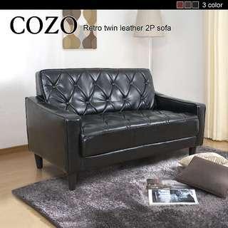 【多瓦娜】 COZO古著拉扣棕色古典2人位皮沙發-dowana106-三色