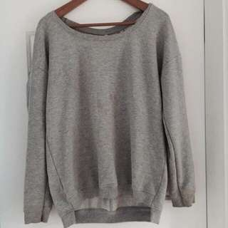 Grey Jumper with Lace Back