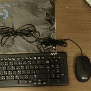 全新 Acer 宏基 有線鍵盤滑鼠組(送羅技滑鼠墊)