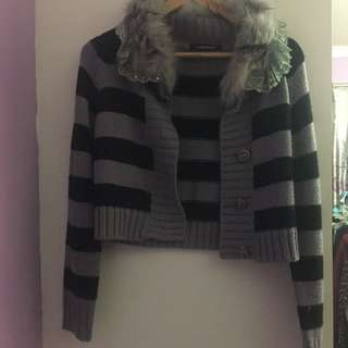 Knitted Black And Grey Crop Cardigan