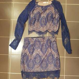 Navy And Nude 2 Piece Set
