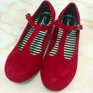 Red Velvet Mary Jane T-strap Shoes