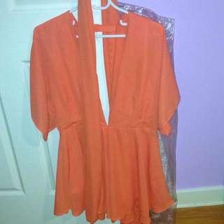 Orange Playsuit Size L