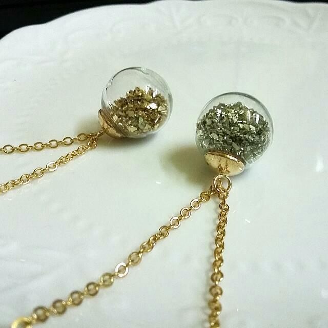 手作金銀色不規則亮片玻璃罩項鏈