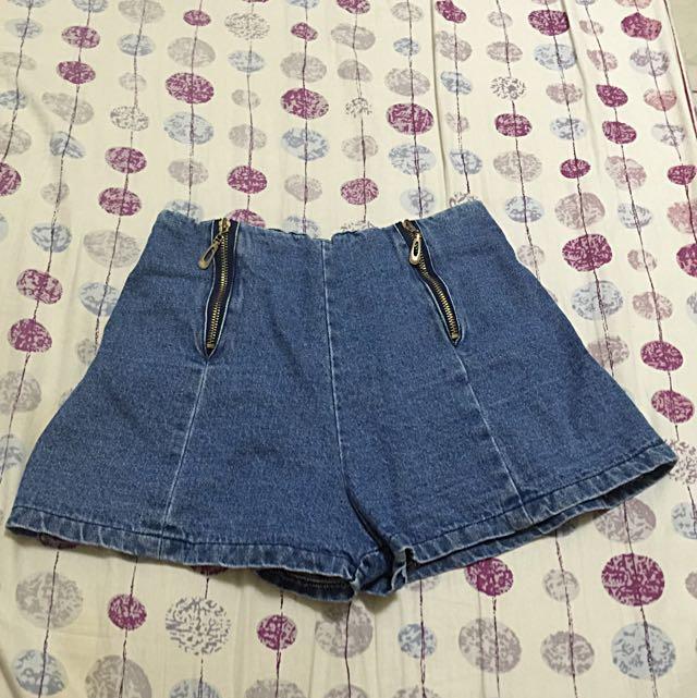 ‼️半價出售‼️雙拉鍊高腰牛仔短褲