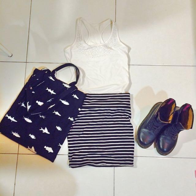 彈性棉條紋短裙