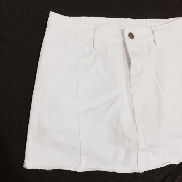 全新 白色牛仔褲裙