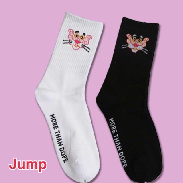 韓國 粉紅頑皮豹系列中長筒襪