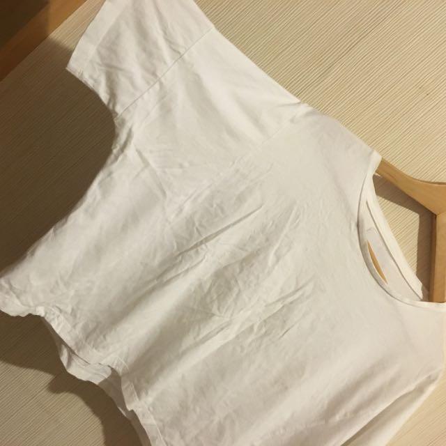 白色 百搭短袖T恤 短版