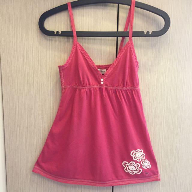 保留-Abercrombie&Fitch桃紅低胸花朵細肩帶背心XS