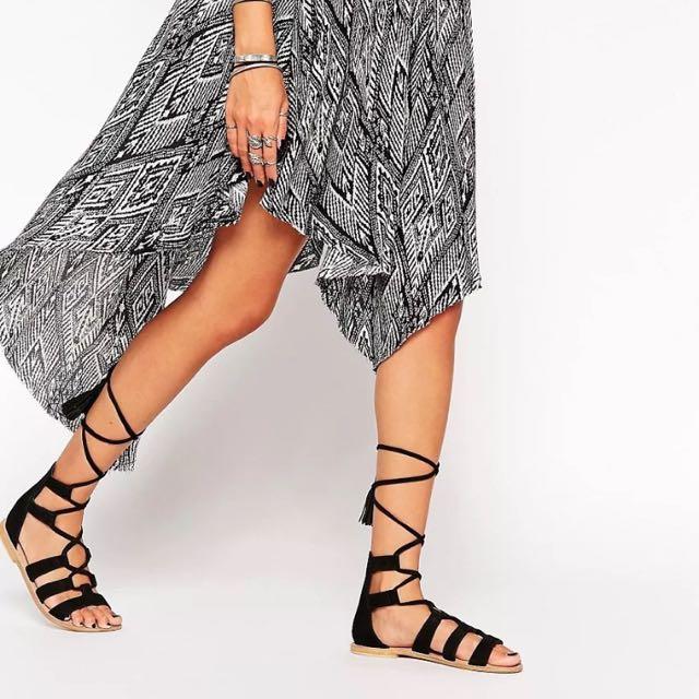 ASOS Black Lace Up Gladiator Tassel Suede Sandals Size 37