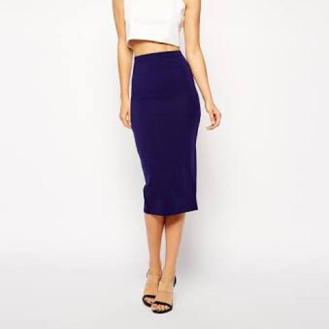ASOS Pencil Midi Skirt in Jersey in Navy, Size 8