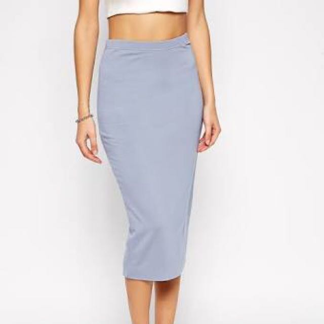 ASOS Pencil Skirt in Double Layered Jersey in Blue, Size 8