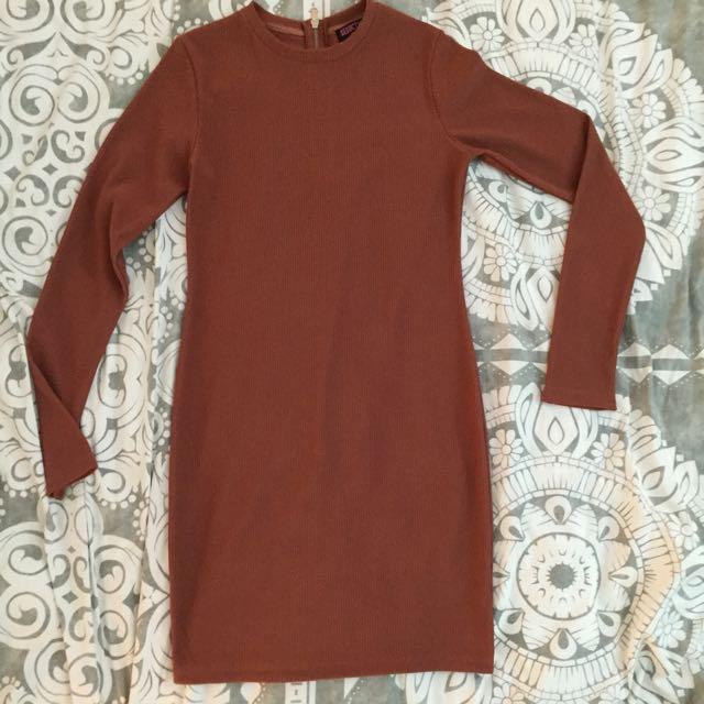 Burnt Orange Long Sleeve Dress