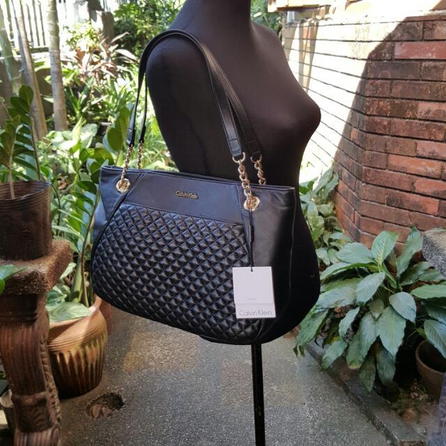 Calvin Klein Lambskin Zip Tote Bag