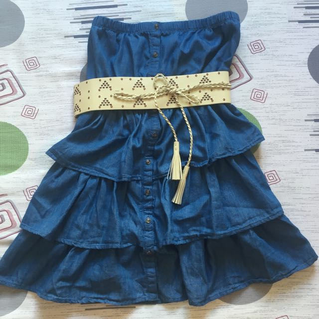 Chambray Strapless Dress W/ Belt