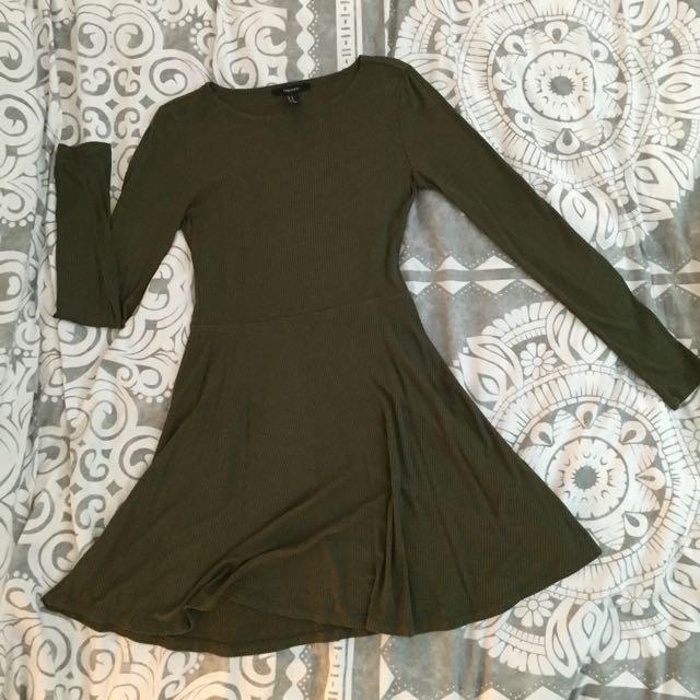 Green F21 Long Sleeve Dress