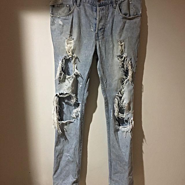 Ksubi Blue Ripped Denim Jeans