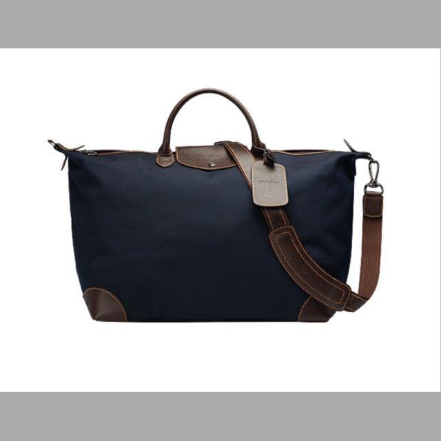 LONGCHAMP 經典Boxford系列皮革飾邊帆布手提/肩背旅行袋(藍)