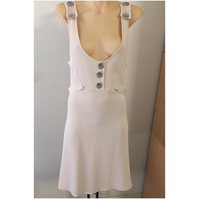 Lovely Witchery Nude Pinafore Dress Size 10-12