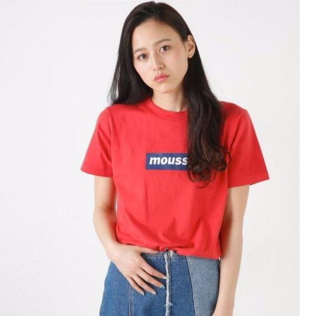 Mxxssy 基本款 亮油字母純棉短袖T恤(紅色)