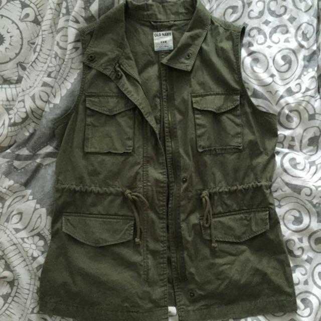 Old Navy Army Green Sleeveless Jacket