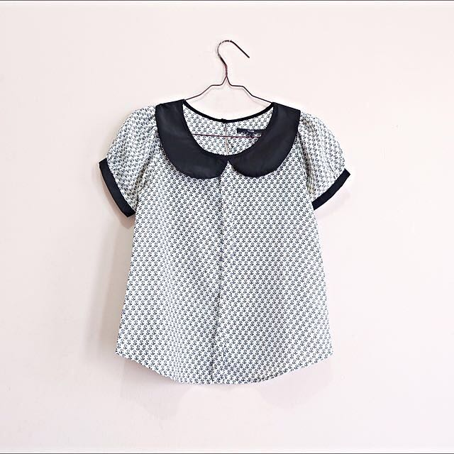 Patterned Collar Top