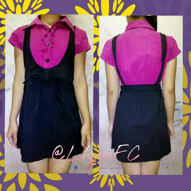 Preloved Dress 101 (Black & Pink)