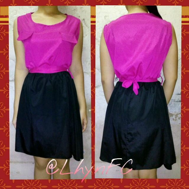 Simple Dress (Black & Pink)